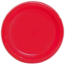 "7"" Red Plastic Plates, 12ct"