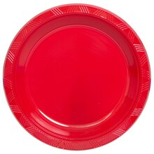 "10"" Red Plastic Plates, 20ct"
