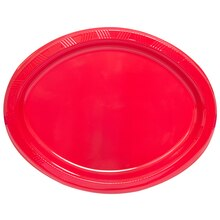 Oval Red Plastic Dinner Plates, 8ct