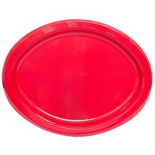 Oval Red Plastic Dinner Plates, 20ct