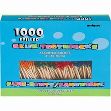 "4"" Frilled Cocktail Toothpicks, Assorted 1000ct"