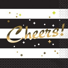 Foil Chic Black and Gold Cheers Cocktail Napkins, 16ct