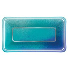 Rectangle Foil Ocean Blue Appetizer Plates, 8ct
