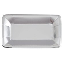 "9"" Rectangle Foil Silver Paper Appetizer Plates, 8ct"