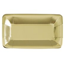 "9"" Rectangle Foil Gold Paper Appetizer Plates, 8ct"