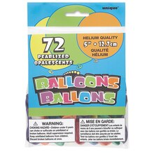 "5"" Latex Pearlized Pastel Balloons, Assorted 72ct Packaged"