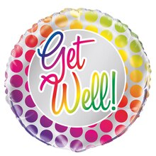 Foil Rainbow Polka Dot Get Well Balloon, 18""