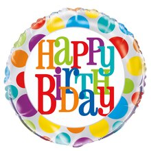 Foil Rainbow Polka Dot Happy Birthday Balloon, 18""