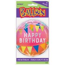 "Foil Pink Ombre Happy Birthday Balloon, 18"" Package"