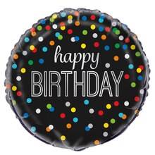 Foil Black Rainbow Dot Happy Birthday Balloon, 18""