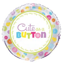 Foil Cute As A Button Baby Shower Balloon, 18""