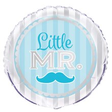 Foil Blue Mustache Little Boy Balloon, 18""