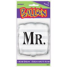 "Foil Square Silver ""Mr."" Wedding Balloon, 18"" Package"