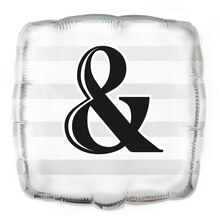 "Foil Square Silver ""&"" Wedding Balloon, 18"""