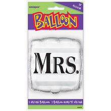 "Foil Square Silver ""Mrs."" Wedding Balloon, 18"" Package"