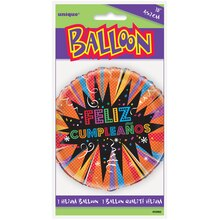 "Foil Starburst Feliz Cumpleanos Balloon, 18"" Package"