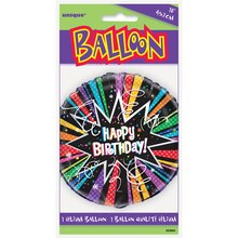 "Foil Rainbow Starburst Happy Birthday Balloon, 18"" Package"