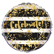 Foil Black and Gold Celebrate Balloon, 18""