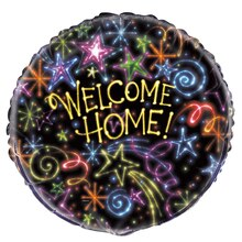Foil Neon Stars Welcome Home Balloon, 18""