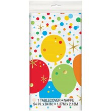 Plastic Glitzy Balloon Happy Birthday Tablecloth