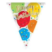 Glitzy Balloon Happy Birthday Pennant Banner, 12 Ft. Single