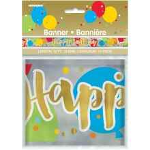 Foil Glitzy Balloon Happy Birthday Banner, 12 Ft. Package
