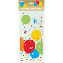 Glitzy Balloon Happy Birthday Cellophane Bags, 20ct Package