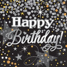 Foil Black and Silver Glittering Birthday Luncheon Napkins, 16ct