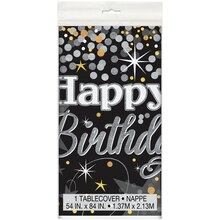 Plastic Black and Silver Glittering Birthday Tablecloth