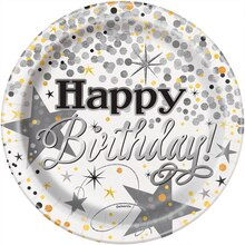 "7"" Foil Black and Silver Glittering Birthday Party Plates, 8ct"