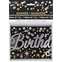 Foil Black and Silver Glittering Birthday Banner, 12 Ft. Package