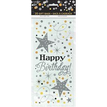 Black and Silver Glittering Birthday Cellophane Bags, 20ct