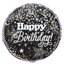 Foil Black and Silver Glittering Birthday Balloon, 18""
