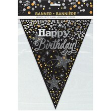 Black and Silver Glittering Birthday Pennant Banner, 12 Ft