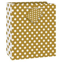 "Gold Polka Dot Gift Bag, 9"" x 7"""