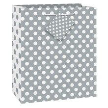 """Silver Polka Dot Gift Bag, 9"""" x 7"""""""