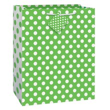 "Lime Green Polka Dot Gift Bag, 13"" x 10.5"""