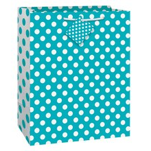 "Teal Polka Dot Gift Bag, 13"" x 10.5"""