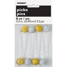 Silver And Gold Pom Pom Toothpicks, 8ct Pack
