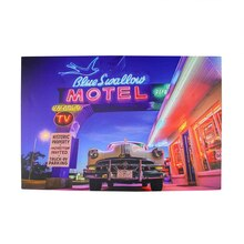 LED Lighted Blue Swallow Motel with Classic Car Canvas Wall Art