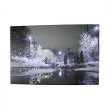 LED Lighted Nighttime City Park Winter Scene Wall Art
