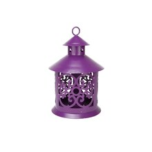 "8"" Shiny Purple Candle Holder Lantern with Star & Scroll Cutouts"