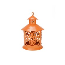 "8"" Shiny Orange Candle Holder Lantern with Star & Scroll Cutouts"