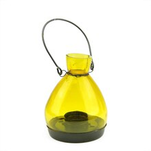 "5"" Yellow Glass Tapered Bottle Tea Light Candle Lantern"