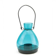 "5"" Blue Glass Tapered Bottle Tea Light Candle Lantern"