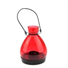 "5"" Red Glass Tapered Bottle Tea Light Candle Lantern"