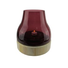 """9.75"""" Merlot Colored Glass Pillar Candle Holder with Wooden Base"""