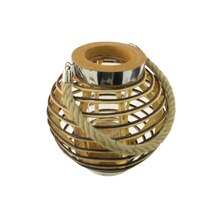 "9.5"" Rustic Chic Round Rattan Decorative Candle Holder Lantern"