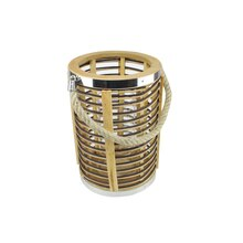 "7.5"" Rustic Chic Cylindrical Rattan Decorative Candle Holder Lantern"
