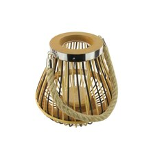 "9.25"" Rustic Chic Pear Shaped Rattan Candle Holder Lantern"